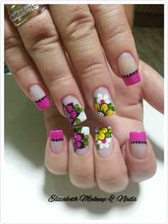 Uñas pink New Nail Art, Cute Nail Art, Acrylic Nail Art, Simple Nail Art Designs, Nail Designs, Mickey Nails, French Tip Nails, Flower Nail Art, Foto Art