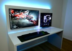 Tagged with Gaming; Shared by FXformat. Gaming Desk Setup, Best Gaming Setup, Computer Setup, Simple Computer Desk, Computer Desks For Home, Office Setup, Pc Setup, Wall Mounted Pc, Home Studio Desk