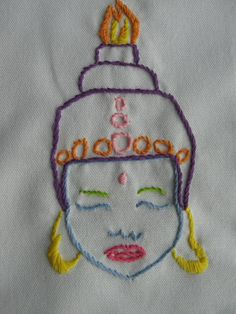 Hand Embroidered Buddha Tea Towel by jenEembroidery on Etsy, $29.00
