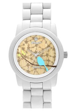 Sprout watch- Diamonds accent a beautiful nature print patterning the dial of an eco-friendly watch encased in biodegradable materials- nordstroms