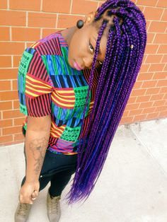 Box Braids Hairstyles, African Hairstyles, Cool Hairstyles, Black Hairstyles, Purple Box Braids, Purple Hair, Red Purple, Big Chop, Zooey Deschanel