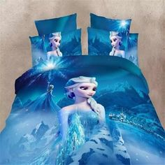 blue color Frozen Elsa bedding set Girl's Children's bedroom decor single twin size bed sheets quilt duvet covers no filler. Category: Home & Garden. Subcategory: Home Textile. Product ID: