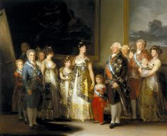Charles IV of Spain and His Family is an oil on canvas painting by the Spanish artist Francisco Goya who began work on this painting in 1800 and completed it in the summer of 1801. It features life sized depictions of Charles IV of Spain and his family, ostentatiously dressed in fine costume and jewelry. The painting was modeled after Velázquez's Las Meninas when setting the royal subjects in a naturalistic and plausible setting.[1]