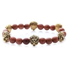 SENFAI Natural Goldstone bracelet with gold lion for men 12MM stone beads by SENFAI -- Awesome products selected by Anna Churchill