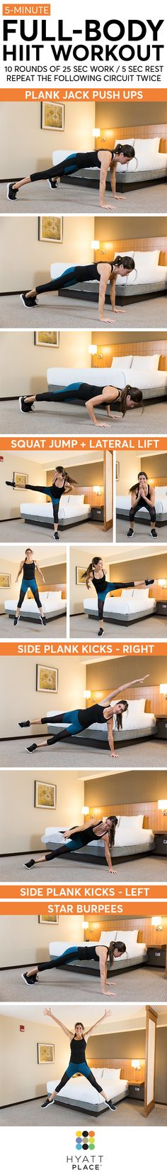This full-body HIIT workout is perfect to do while traveling! No equipment is needed and it'll take you just 5 minutes. Looking for a longer workout? Repeat the circuit!