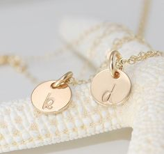 TWO Dainty Personalized hand stamped 14k by CherishedSentiments, $30.00