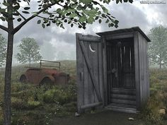 outhouse- not fun! grandma had a two-seater..... fancy!