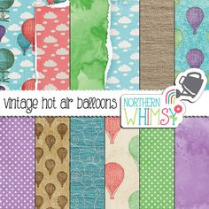 Hot Air Balloon Digital Paper – vintage distressed scrapbook paper in pink, purple, mint, and blue - balloon backgrounds - commercial use