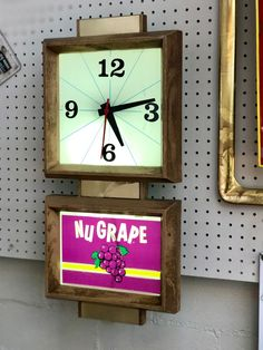 "Vintage ""Nu Grape"" Clock   Works  24""   $125  Mid Century Dallas Booth #766  Lula B's in the OC! 1982 Ft. Worth Ave. Dallas, TX 75208"