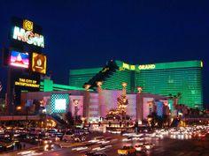 MGM Grand Hotel & Casino exterior at night, Las Vegas