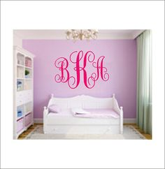 Large Vine Monogram Decal Vinyl Wall Decal Housewares Girl Nursery Bedroom Vinyl Decor Initial Decor 22x35 on Etsy, $28.00