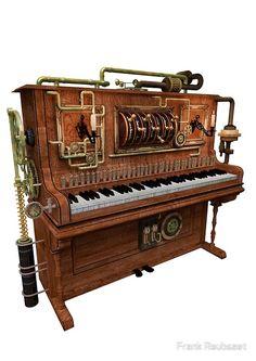 steampunk piano by Frank Reubsaet Steampunk Bar, Steampunk Design, Steampunk Costume, Steampunk Fashion, Fancy Music, Futurism Art, Steampunk Accessoires, Steampunk Furniture, Piano Bar