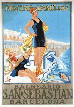 Publicidad de la gran piscina de los baños de San Sebastián (Barcelona) en la década de 1920.