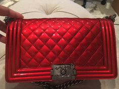 aed8516b3773 Chanel Le Boy Red Patent Luxurysnob.com