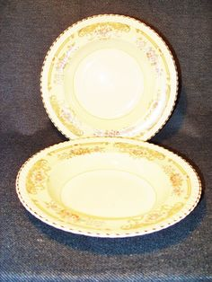"2 Rare Antique Johnson Brothers Old English Harrow w/Gold Trim 9 1/2"" Bowls EUC #JohnsonBrothers"
