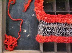 Wire crochet silk necklace red silk bib necklace by WearitCrochet