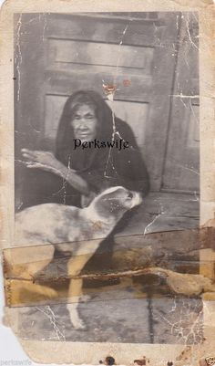 Vintage Snapshot Photograph Old Witchy Woman with Dog Woman Draped in Black
