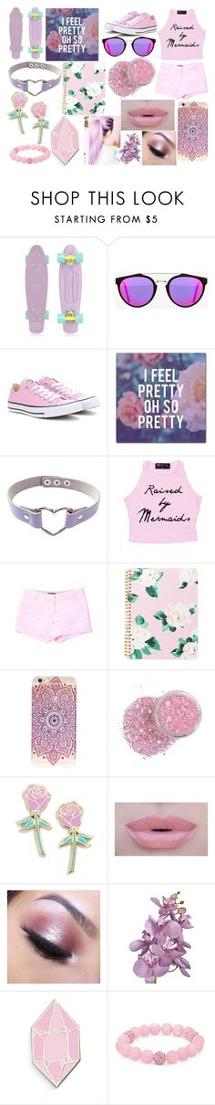 """""""Pink."""" by lxrry-bullshxt ❤ liked on Polyvore featuring Retrò, RetroSuperFuture, Converse, Trademark Fine Art, J.Crew, Big Bud Press, Morphe, Too Faced Cosmetics and Palm Beach Jewelry"""