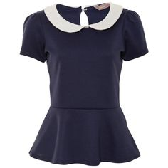A|Wear Navy Peterpan Collar Peplum Top ($29) ❤ liked on Polyvore featuring tops, blouses, shirts, t-shirts, peter pan collar shirt, peplum blouse, peplum tops, blue blouse and peplum shirt