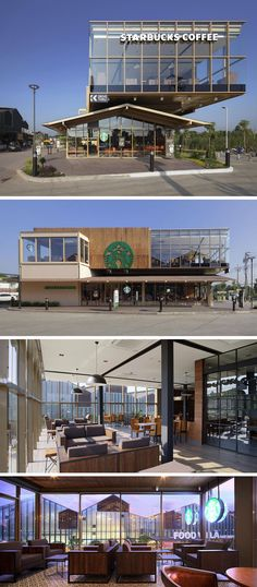 11 Starbucks Coffee Shops From Around The World // This multi-level Starbucks in Bangkok, Thailand took a page out of Thai design books when they designed the steel building with a gable roof on the lower part of the building to be reminiscent of traditional Thai farm houses.