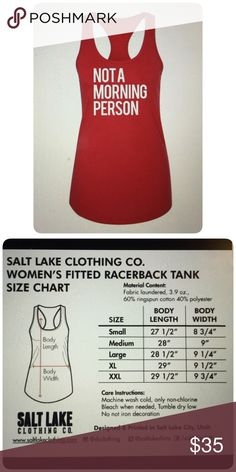 """Red Fitted Tank """"Not a Morning Person"""" ☀️ COMING SOON ☀️. Red fitted racer back tank top, """"Not a Morning Person.""""  Perfect for lounging at night or on the weekends. Please see size chart for correct sizing. Salt Lake Clothing Tops Tank Tops"""