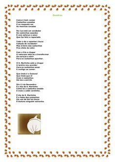 Quadras Como é bom comer Castanhas assadas E no magusto ver As meninas coradas Na rua está um vendedor De castanhas assada... Proverbs, Fails, Crafts For Kids, Personalized Items, Education, Words, Roasted Chestnuts, Autumn Activities, Sint Maarten