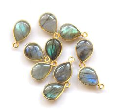 5 Pieces Natural Labradorite Pear Shape Handmade Jewelry Connector, 12X16 mm Pear / Handmade Connector / 24k gold plated Bezel (PJ416200PJ) by PlantofJewel on Etsy