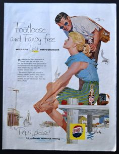 1958 Pepsi Vintage Print Ad - Footloose and Fancy Free - Illustration Art - Sitting on the Dock of the Bay