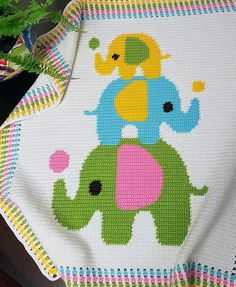 CROCHET Pattern Baby Blanket Pattern Three by PatternWorldUK ~ this is so cute and bright for a little one - love it! ~ measures x ~ CROCHET ~ super! Baby Afghan Crochet Patterns, Baby Blanket Crochet, Baby Patterns, Crochet Baby, Knitting Patterns, Double Crochet, Single Crochet, Elephant Blanket, Baby Elephant