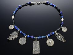 Oriental Coin Statement Necklace, Silver Istanbul Necklace, Ancient Ottoman Coin Jewelry, Blue Sodalite & Seaglass Oriental Necklace