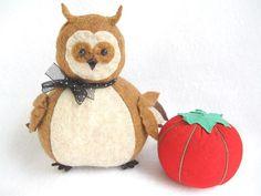 Fat Owl Pincushion Herbie...cute felt bird owl by FatCatCrafts