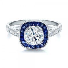 tried it on...i would say yes to this. Art Deco Style Blue Sapphire Halo and Diamond Engagement Ring