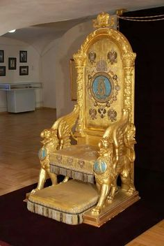 Throne of Tsar Alexander lll of Russia at the Grand Palace at Gatchina.