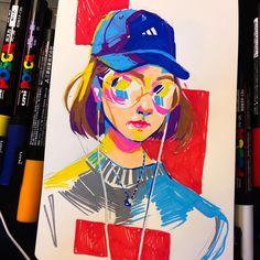 art inspo 29 Ideas For Pop Art Portraits Artworks Art Inspo, Kunst Inspo, Inspiration Art, Sketchbook Inspiration, Marker Kunst, Marker Art, Portraits Pop Art, Self Portraits, Art Sketches