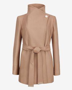 Short wool wrap coat - Taupe   Jackets & Coats   Ted Baker