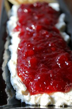 Cranberry Pepper Jelly Dip: 8 oz cream cheese, 1 C. pepper jelly, can cranberry sauce Best Holiday Appetizers, Thanksgiving Appetizers, Appetizers For Party, Holiday Recipes, Thanksgiving Recipes, Christmas Recipes, Christmas Foods, Christmas Dishes, Holiday Meals