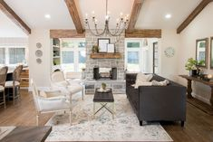 The cargo ship house season 4 fixer upper magnolia market living room chip Living Room With Fireplace, My Living Room, Home And Living, Small Living, Modern Living, Living Room Ceiling Ideas, Living Area, Fixer Upper Living Room, Fixer Upper House