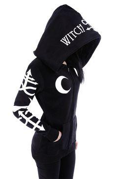 Gothic Girl Coven Witchcraft oversized hood Gothic Alternative Goth black hoodie