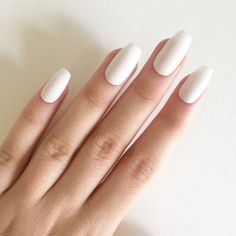 Matte white coffin nails, hand painted acrylic nails, fake nails,... (305 ZAR) ❤ liked on Polyvore featuring beauty products, nail care and nail treatments