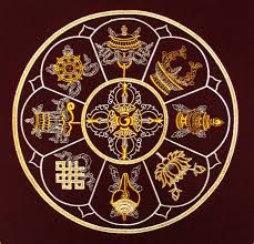 Mandala with the 8 auspicious symbols of Tibetan Buddhism