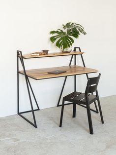 Woodboom i ' or Berger ' desk Folding Furniture, Iron Furniture, Simple Furniture, Minimalist Furniture, Home Furniture, Furniture Design, Diy Study Table, Study Table Designs, Wood Office Desk