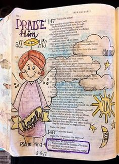 For the Love of Cardmaking: Psalm 148: 2-4- Bible art Journaling
