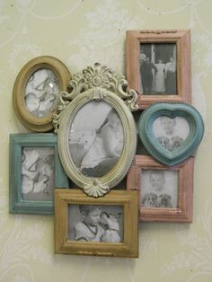 Multi pastel coloured photo frame shabby vintage chic picture hallway bedroom