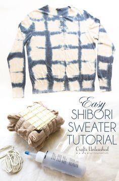 Easy Shibori Sweater Tutorial - An easy and mess-free way to recreate the look of indigo-dyed Shibori! #plumpicks #cardigan