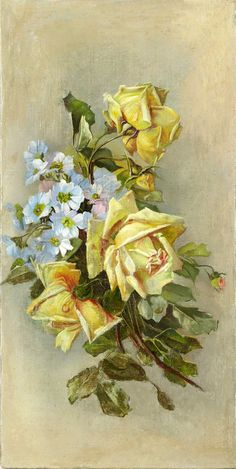 Yellow roses with blue flowers