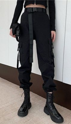 Apr 2020 - Army Cargo Pants with Buckles - Grunge Outfits, Kpop Outfits, Edgy Outfits, Mode Outfits, Girl Outfits, Fashion Outfits, Army Cargo Pants, Cargo Pants Outfit, Cargo Pants Women