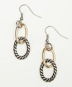 Look what I found on #zulily! Silver & Gold Twisted Ring Earrings #zulilyfinds