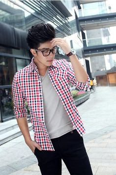 Red Checkered Casual Long Sleeves Mens Korean Fashion Shirt