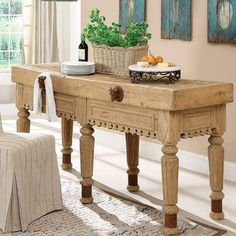 French Butcher Block Kitchen Island Table