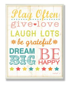 Take a look at this 'Play Fair, Give Love' Wall Art on zulily today!